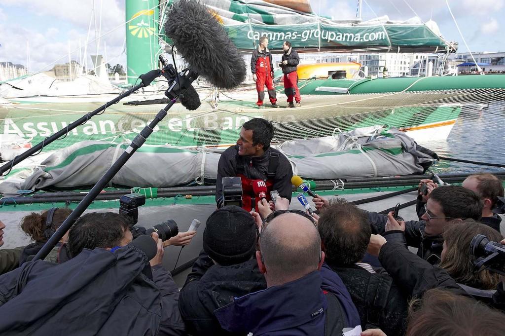 Arrivée à Brest de Groupama 3. ©Yvan Zedda / Groupama Team