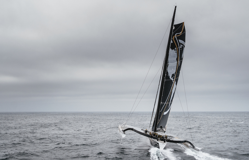 LA TRINITE-SUR-MER, FRANCE, OCTOBER 17TH 2017: Spindrift racing (Maxi Spindrift 2) skippered by Yann Guichard from France, training for the Jules Verne Trophy 2017 attempt.