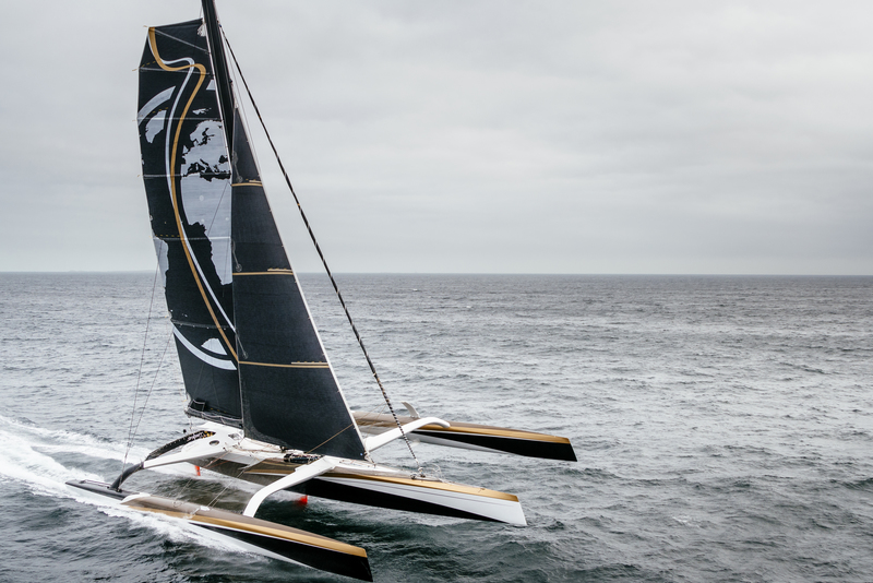 LA TRINITE SUR MER, FRANCE, OCTOBER 17TH 2017: Spindrift racing (maxi Spindrift 2) skippered by Yann Guichard from France, training for the Jules Verne Trophy 2017 attempt