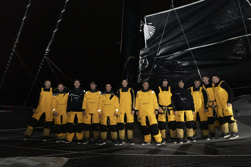 BREST, FRANCE, JANUARY 16th 2019: Spindrift racing gets ready for the start of the Jules Verne Trophy.